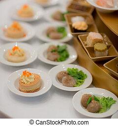 styl, restauracja, jadło, seria, -, bufet, wizerunki, tace