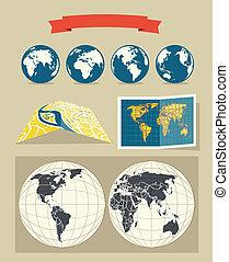 styl, retro, mapy, zbiór, świat, miasto