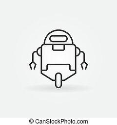 styl, robot, cienka lina, minimalny, ikona