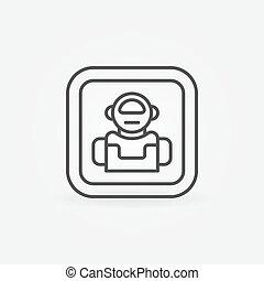 styl, robot, wektor, cienka lina, minimalny, ikona