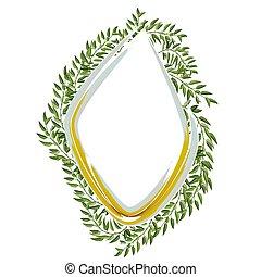 styl, rocznik wina, ułożyć, odizolowany, tło., wektor, zieleń biała, liście, design.