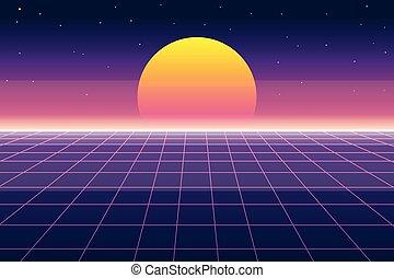 styl, słońce, ilustracja, 1980s, krajobraz, wektor, retro, tło, cyfrowy, futurystyczny