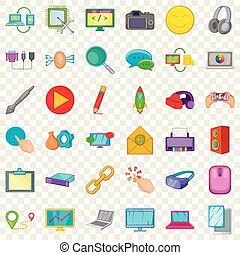 styl, sieć, ikony, komplet, komputer, rysunek