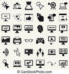 styl, sieć, ikony, komplet, prosty, komputer
