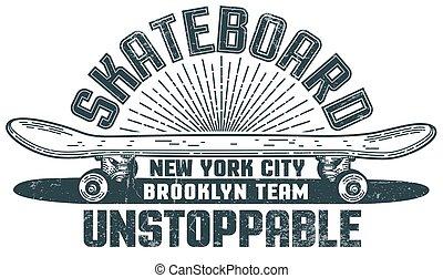styl, skateboard, hand-drawn, hipster, druk, logo
