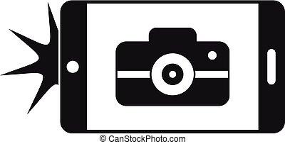 styl, smartphone, prosty, fotografia, wziąć, ikona