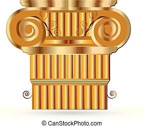 styl, starożytny, złoty, kolumna, grek, historyczny, bank