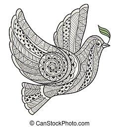styl, stylizowany, gałąź, oliwka, gołębica, zentangle.