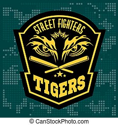 styl, symbole, emblemat, logos., klub, -, etykiety, bojowy, tiger, graficzny, monochromia, eye.