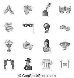 styl, szary, komplet, monochromia, ikony, teatr