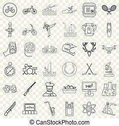 styl, szkic, ikony, komplet, instrument, muzyczny