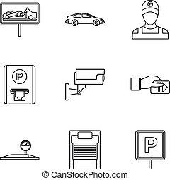 styl, szkic, ikony, komplet, stacja, parking