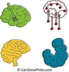 styl, szkic, komplet, mózg, ludzki, kolor, ikona