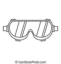 styl, szkic, pracownik, ikona, spawalniczy, okulary