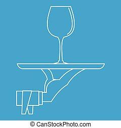 styl, szkic, szkło, ikona, taca, wino