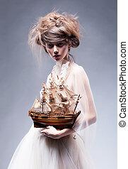 styl, sztuka, rocznik wina, -, retro, ładny, portret, dziewczyna, strój, biały