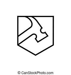 styl, sztuka, tarcza, formułować, logo, kreska, młot ikona