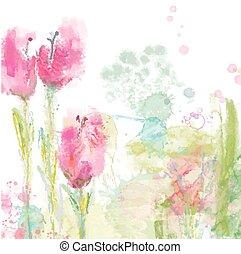 styl, tulipany, -, akwarela, tło, kwiatowy