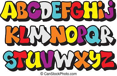 styl, type., komicy, alfabet, wektor, graffiti, chrzcielnica