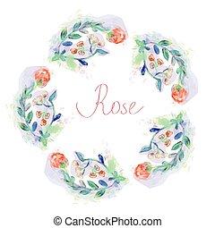 styl, ułożyć, -, akwarela, róże, kwiatowy, koło