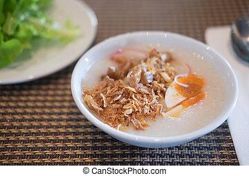 styl, urżnięty, jadło, ryż, asian, zjedzony, śniadanie, miękki