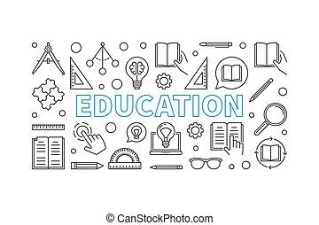 styl, wektor, cienki, poziomy, wykształcenie, chorągiew, kreska