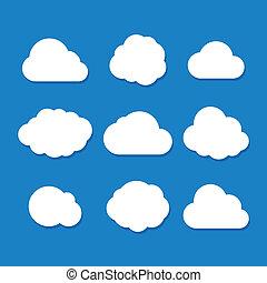 styl, wektor, rysunek, chmura, set.