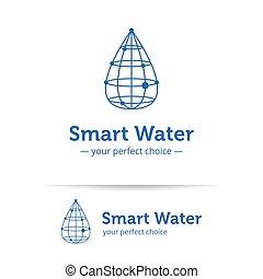 styl, woda kapią, logo., wireframe, wektor, kreska, czysty