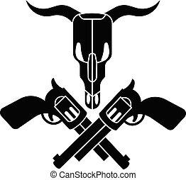 styl, zastraszyć czaszkę, prosty, krzyż, rewolwer, ikona
