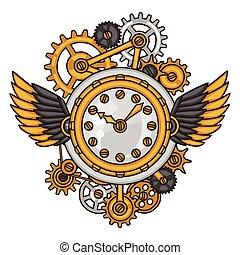 styl, zegar, collage, steampunk, metal, mechanizmy, doodle