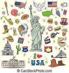 styl, zjednoczony, miłość, stany, ikony, litery, doodle, komplet, objects.