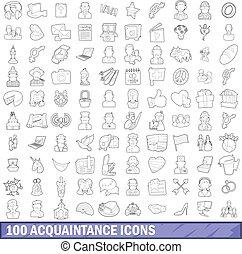 styl, znajomość, szkic, ikony, komplet, 100