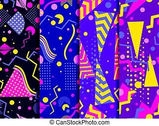 style, éléments, ensemble, arrière-plans, pattern., seamless, 80's., vecteur, géométrique, memphis