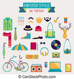 style, éléments, icônes, ensemble, hipster, retro, design.