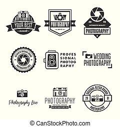 style, éléments, logos, photo, photographie, étiquettes, appareil photo, conception, vendange, objects., set., insignes