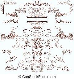 style, éléments, vendange, collection, calligraphic, flourishes, retro, décorations, page