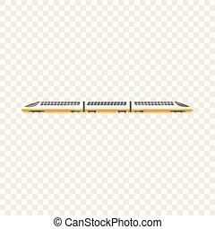 style, élevé, train, icône, vitesse, dessin animé