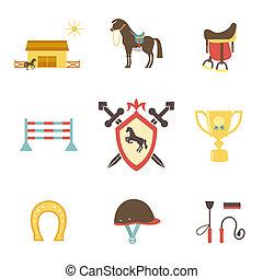 style, équestre, cheval, icônes, plat