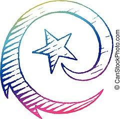 style, étoile, illustration, scratchboard, vecteur, encre, tir, dessin