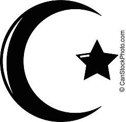 style, étoile, simple, symbole, croissant, icône, islam