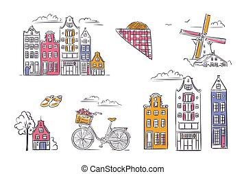 style., シンボル, セット, アムステルダム, ベクトル, sketchy