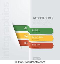 style., ベクトル, デザイン, infographics, 創造的, template., リボン