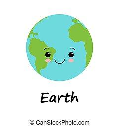 style., 微笑, 地球, デザイン, 概念, 漫画, 顔, 日, 平ら, 創造的, 人間性, かわいい, 現代, 地球, 甘い, 惑星