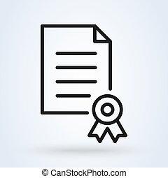 style., 最新流行である, icon., 要素, ベクトル, 証明される, 証明書
