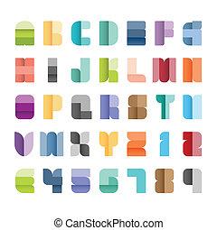 style., 纸, 字母表, 放置, 颜色, 字体, 矢量, illustration., 类型