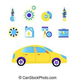 style., 自動車, イラスト, 面白い, セット, ベクトル, 平ら, 修理, アイコン
