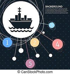 style., 船, ポイント, 背景, ボート, アイコン, ベクトル, infographic