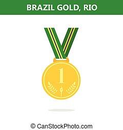 style., 金, brazil., medal., ベクトル, ゲーム, 2016., rio., 平ら, illustration., オリンピック