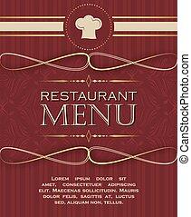 style, 01, menu restaurant, couverture, conception, retro, gabarit