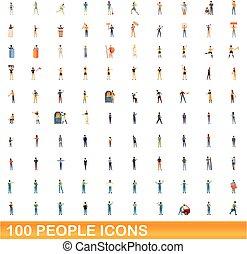 style, 100, gens, icônes, ensemble, dessin animé